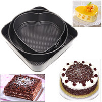 Wholesale Set of Three Springform Pans Chocolate Cake Bake Mould Mold Bakeware Round Heart Square Shape Kitchen Accessories Baking Tools H11222