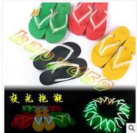 Wholesale noctilucent luminous lovers beach sandals shoes fluorescence lady man couples home anti slip flip flops woman creative slippers S L size