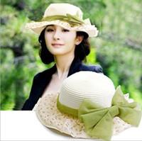 Visor Sun Hats Striped 1pcs,Necessary summer sun hat, fashion lace bowknot straw hat, women beach cap, multicolor, free shipping