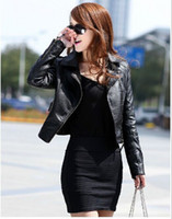 Wholesale European new brief paragraph pu leather jacket washing ms locomotive small coat of cultivate one s morality spring tide