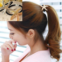 Wholesale 20PCS New Fashion Women s Hair Accessory Gold Silver Metal Starfish Hair Band Hair Rope Ponytail Holder