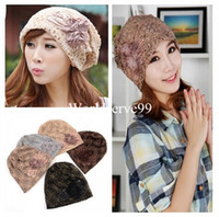 Wholesale Women Lady Hats Flower Lace Baggy Beanie Slouchy Cap Turban Cap Hollow Fashion