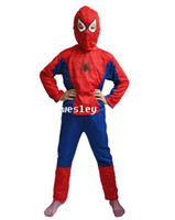 Wholesale Halloween costume party Spiderman clothing child kids Spider Man suit Free Ship