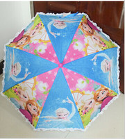 Wholesale kids Frozen Umbrella Children Anna Elsa Sunny and Rainy Umbrella baby girls princess long handle lace umbrella styles
