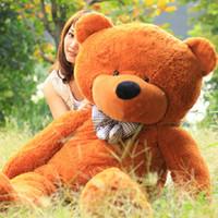 Teddy Bear White Plush Wholesale - Valentine's day dolls dolls dolls teddy bear plush toy bear large mail birthday gift bag