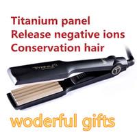professional salon equipment - flat iron ceramic hair roller Titanium ceramic e hair salon equipment professional hair styling tools Corn curls eu us uk plug