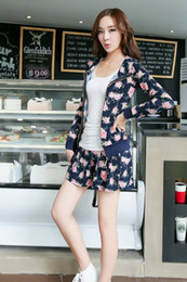 Wholesale qiu han edition floral Printed blue elastic hooded fleece they women s suit