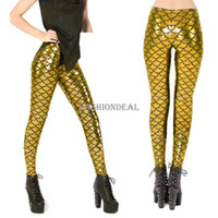 Lycra Low Casual New 2014 Fashion Leggings Big Size Women's Sexy Fish Scale Mermaid Printed Stretch Trouser Leggings Skinny Pants Golden 18669