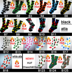 Wholesale 24pcs pair Cotton multicolour mixed color men fuck Maple Leaf weed Thicken hiphop street Plantlife Skateboarding Sport Socks