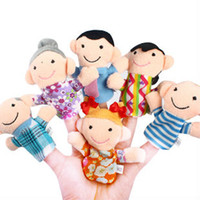Unisex 13-24 Months Gray 6pcs pack Finger Plush Puppet Happy Family Story Telling Dolls Support Children Baby Educational Toys Wholesale 80523