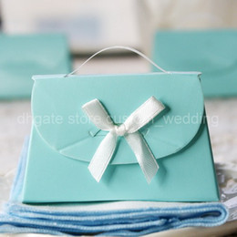 Wholesale Happy Wedding Accessary Blue Purse Style Supplies Favors Chocolate Gifts Candy Pails Style Useful