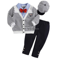 Wholesale Children Set Kids Suit Outfits Infant Clothing Boys Caps Bow Tie White Coat Black Trousers Child Suit Kids Sets Toddler Clothes Boy Suit