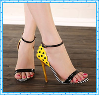 Wholesale candy colors block buckle summer party shoes woman sexy high thin heels ladies ankle strap sandals for women pumps pink yellow C264