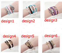 Wholesale 24 Style Leather Braid Hand knitted Bracelet Cute Infinity Love Crown Leaf Charm Bracelet Silver GG1