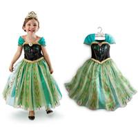 TuTu Summer Ball Gown In stock High Quality Short Sleeve Kids Children Girls's Dress Princess Frozen Dress Cartoon Anna Girls Cosplay Costume Dress G188344