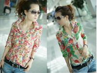 Regular Polyester Floral 2014 New Fashion women Chiffon blouses Short sleeve lapel Slim blouse Plus Size ladies blouses dudalina blusas femininas BO196