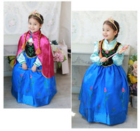 Girl Spring / Autumn Long Wholesale - 2014 Autumn frozen dress kids Anna cosplay costume Kids Frozen dresses cosplay dress with cape party dresses Free Shipping