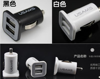 Wholesale USAMS A Dual USB Car Charger Port Charger V mah double plug car Chargers Adapter for iPhone S iPodTouch HTC Samsung s3 s4 s5