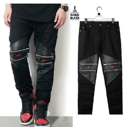 Wholesale GOLD BLAZE high quality leather Joining together Hip hop Multiple zipper cross embroidered Leather pants trousers