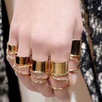 Band Rings Unisex Rings 9PCS Gold Tone Punk Wide Band Ring Stack Plain Knuckle Midi Mid Rings Set