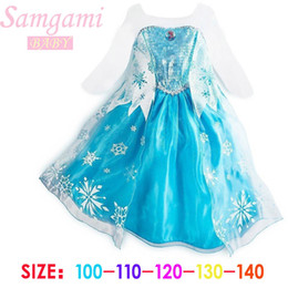 Wholesale Elsa custom girls dresses snow girl Frozen dress for Christmas day Sequins Paillette children dress very beautiful and good quality