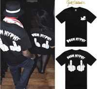 Women V-Neck Tops Gold standard co Been Hyphy Men and women's hip hop t-shirts 100% cotton O-neck short sleeve tops Middle finger fuck t shirt