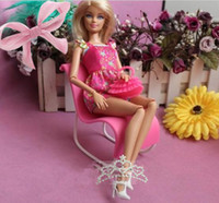 Unisex Birth-12 months Jewelry pink Plastic Vintage Beach chair Doll Toy Accessories,wholesale 5pcs lot