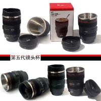 Wholesale Five Generation stainless steel liner travel thermal Coffee camera lens mug cup ML Black