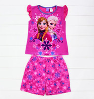 Girl Summer 2T-3T-4T-5T-6T-8T 14 summer new frozen baby clothes suit 2-8T girl-kids t-shirts+shorts 6sets lot cotton kids clothing sleepwear kids pajamas flower snow
