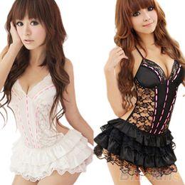 Wholesale Sexy Mini Babydoll Dress Underwear Sleepwear Backless Lace Lingerie Set G string Exotic For Women
