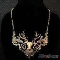 Wholesale Hot Sale Retro Bronze Antique Silver Deer Head Pendant Necklace Great Gift for Men Jewelry