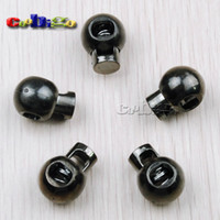 Cord Lock Stopper(#FLS042-B) cord stoppers - 25pcs Pack Ball Stopper Cord Lock Black Nickle Plated For Paracord Sportswear Garment Accessories FLS042 B
