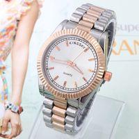 Luxury Women's Round Stainless Steel Watch Analog Hardlex KINGSKY Famous Luxury Band Wristwatch Clocks Round Dial Quartz Movement Dropship