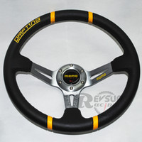 Wholesale 13inch Titanium Deep Dish PVC Leather MOMO Car Steering Wheel Steering Wheel Momo