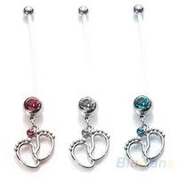 Wholesale Flexible Navel Piercing Pregnancy Maternity Bar Ring Body Belly Piercing Baby Feet