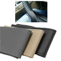 Wholesale RUCH Breathable Antiskid Genuine Leather DIY Car Steering Wheel Cover With Needles and Thread M Size