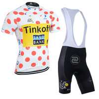 Short Anti UV Men 2014 Tour De France SAXO BANK TINKOFF PRO TEAM RED Spot Short Sleeve Cycling Jersey Bike Bicycle Wear + BIB Shorts Size XS-4XL S037