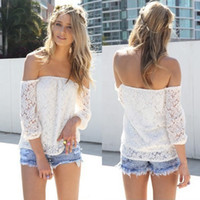 Slash Neck Regular Acetate blusa de renda manga longa tops women blouses 2014 summer crochet sleeve lace white blouse off the shoulder sexy women tops WOQ