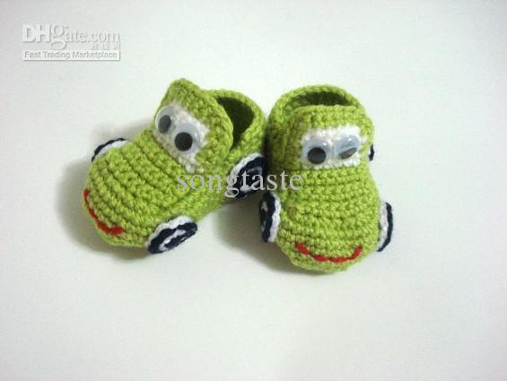 Оптом - Детское вязание крючком обувь мальчиков тачки 4 цвета ручной работы пинетки младенческой первый Уокер обувь для детей вязать сандалии childrengift