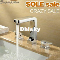 Ceramic Plate Spool Yes SHAMANDA Free Shipping Solid Brass Casting Chrome Hot and Cold 3 Holes Basin Faucet ,3 Pieces Basin Faucets Mixer Tap Set-Wholesale-2413