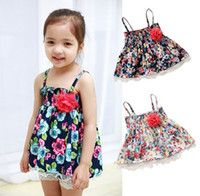 TuTu Summer A-Line 2014 Summer clothing new sweet girls floral gallus dress net yarn wavy peplum children dress kids dresses 80-110 size 8pcs lot SM234