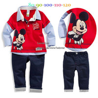 Wholesale Child Suit Kids Sets Baby Clothing Long Sleeve T Shirt Boy Pants Children Set Kids Suit Outfits Red Shirt Boys Long Trousers Infant Clothes