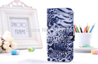 For Apple iPhone Leather Yes free shipping,High Quality leather Flip leopard print wallet Case Cover For iphone 4 4s,100piece lot