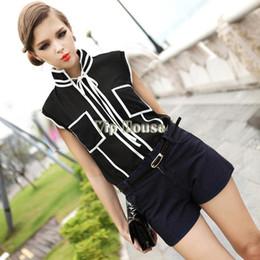 2014 New Fashion Hot Sale Vintage Plus Size Casual black white short Sleeve Chiffon Blouse Shirts For Women 17187
