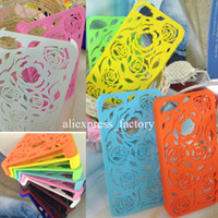 For Apple iPhone apple sculptures - Many Colors Net Mesh Sculpture Design Rose Flower D Rose Hollow Carved PC Plastic Case Cover For iPhone G S