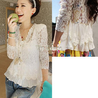 Women air conditioning pads - Spring Women s Shoulder Pad Patchwork Hollow Out Shirt Sexy Lace Long Sleeve Cardigan Air Condition Shirt Outerwear b010
