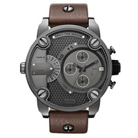 Men's display cases - DZ Oversized Case Mutiple Dials Date Display Rubber Strap Quartz Waterproof Men Watches Dark Brown Strap