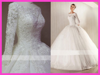Wholesale 2014 High Quality Sleeve Lace Ball Gown Wedding Dresses Bateau Neck Crystals Beads Sequins Floor Length Tulle Bridal Gowns Custom Made