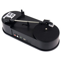 Wholesale Newest Portable Phonograph Mini USB Turntable Vinyl player RPM LP Vinyl Audio Records into USB Flash Stick mm R L Stereo Output D5205A