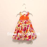Wholesale MN CLEAN SALE Orange Flower Dress Orange Bow clothing